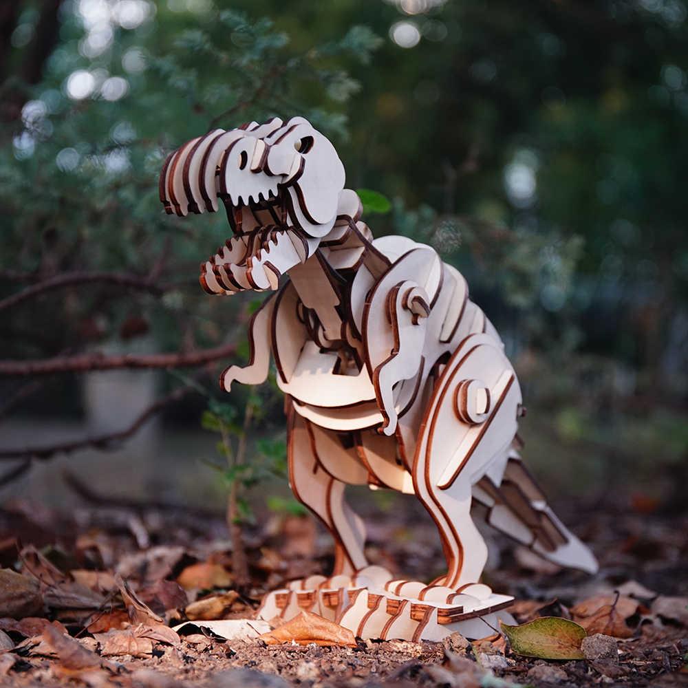 Robud DIY T-rex Remoto/Som/Controle de Luz Andar Roaring Dinossauro de Brinquedo De Madeira Modelo de Construção Brinquedos Para Crianças passatempos D200