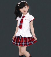 New Girls Korea School Uniform Set White Shirt With Red Pleated Plaid Skirts Costume Plus Size