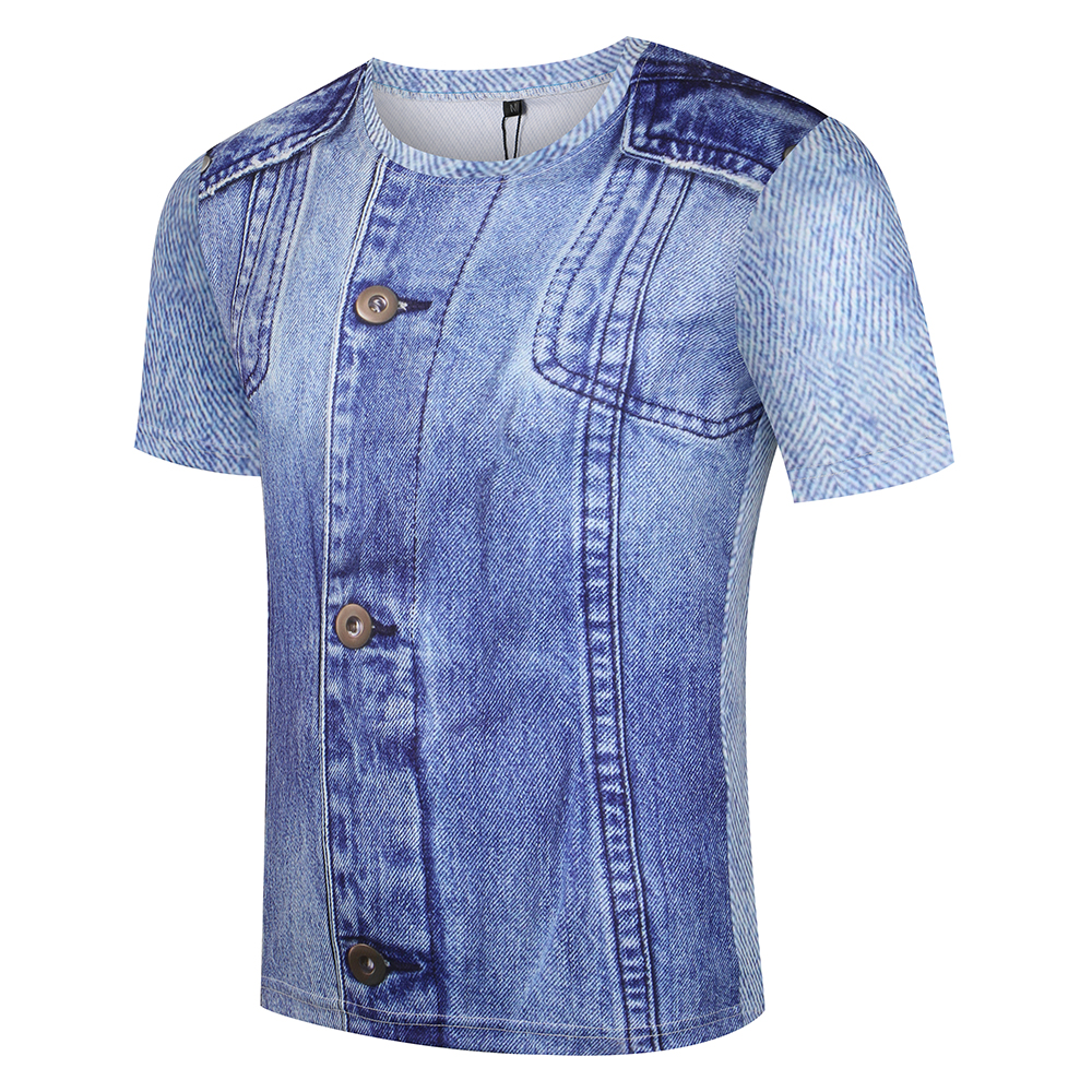 KYKU Jeans T-shirt Kişi / qadın Saxta T Köynək Əyləncəli - Kişi geyimi - Fotoqrafiya 2