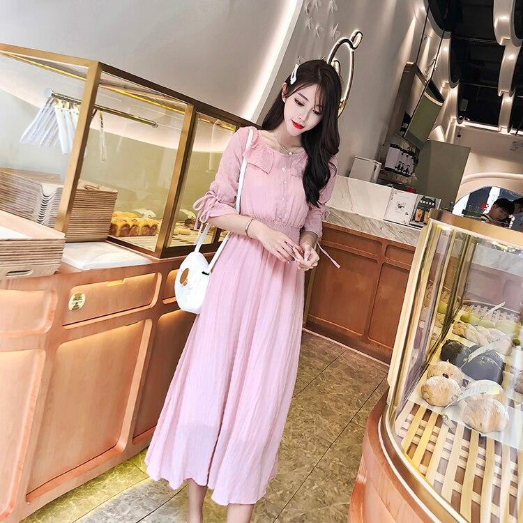 Maxi Long Party Dress Women Elegant Pink Color Button High Waist Loose Casual Beach Plus Size Sexy Dress Summer Robe Femme 9