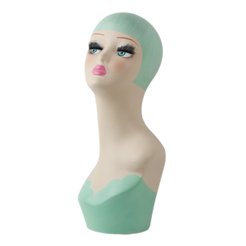 Fiberglass Vintage Female Hand-painted Mannequin Head For Jewelry And Hat Display