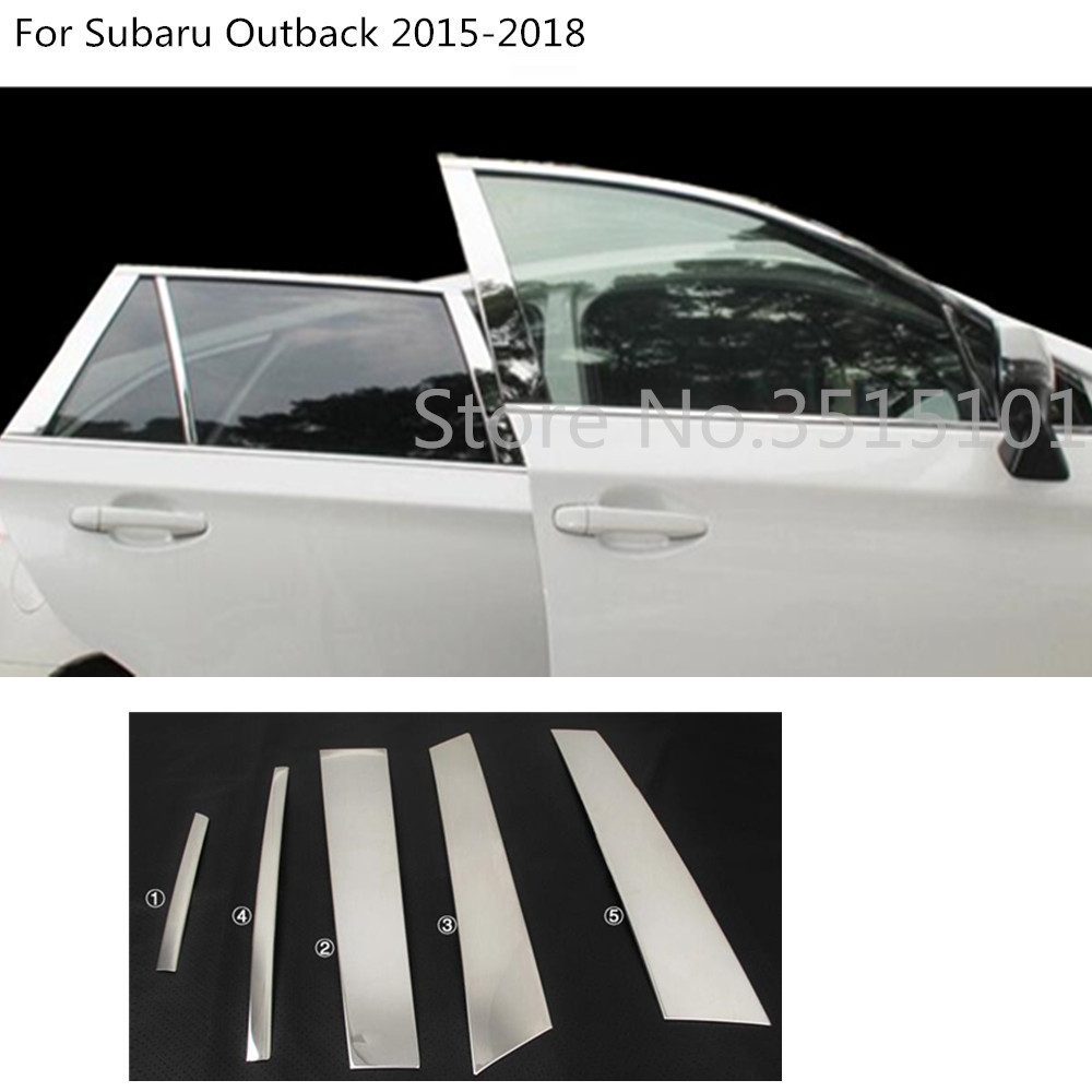 Stainless Steel 10PCS Center Pillar Posts Window Trim For Subaru Outback 15-16