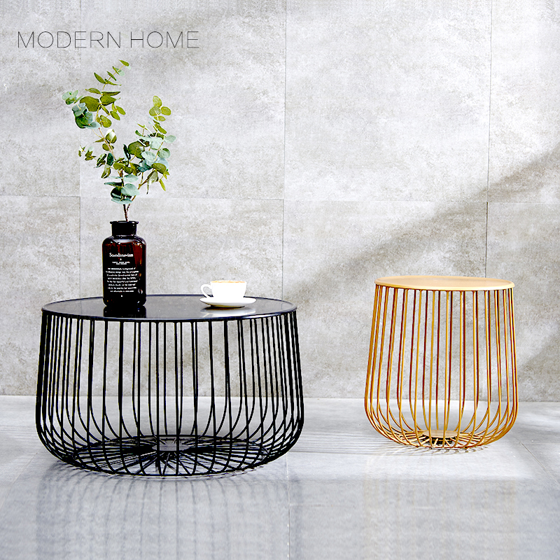 Us 188 0 Por Modern Design Pumpkin Black And Gold Metal Round Tea Table Living Room Side Coffee End Size Customize 1pc In