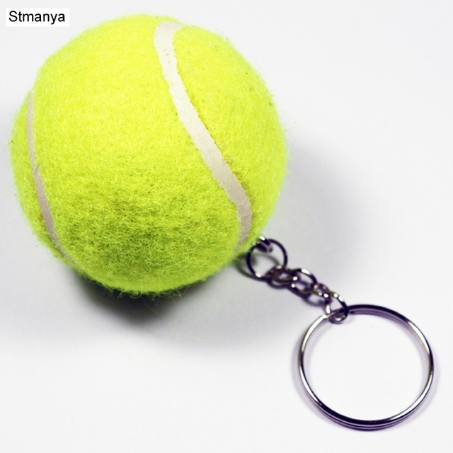 New Design Tennis Ball Key chain Car Key Ring sport chain sliver color Bag pendant KeyChains For Man Women Gift wholesale 17109