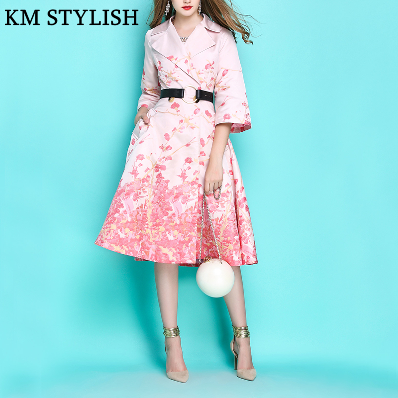 Coat Windbreaker Jacquard Romantic Print Early-Autumn Women Luxury New Pink Flower Collar