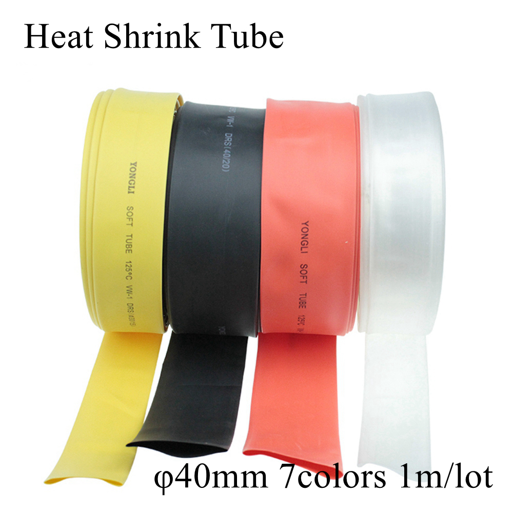 1M 40mm Black Red Clear Transparent Yellow Blue Green White Polyolefin Quick Heat Shrink Tubing Tube Wire Cable Sleeve Tape Wrap