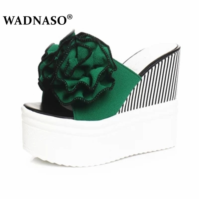WADNASO Hot summer floral <font><b>wedges</b></font> <font><b>shoes</b></font> <font><b>woman</b></font> candy color flower decoration platform <font><b>slippers</b></font> Bohemia flip flops beach Eu 35-39 image