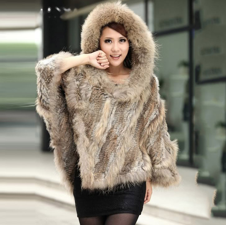 цены Fashionable Real Genuine Women Knitted rabbit Fur poncho with hood raccoon fur collar CAPE wrap shawl Stole Female fur free ship