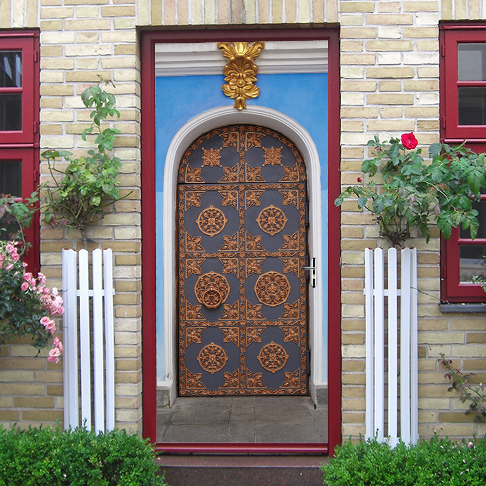Image 4 - 3D Ethnic Style Fake Door Door Stickers Waterproof Removable DIY Self Adhesive Wall Decals Home Bedroom Background Wall Decor-in Wall Stickers from Home & Garden