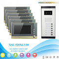 "IR Night Vision for Villa Apartment Eye Door bell 7""TFT LCD Color Video Door Phone Doorbell Intercom System 1 Camera 6 Monitor"