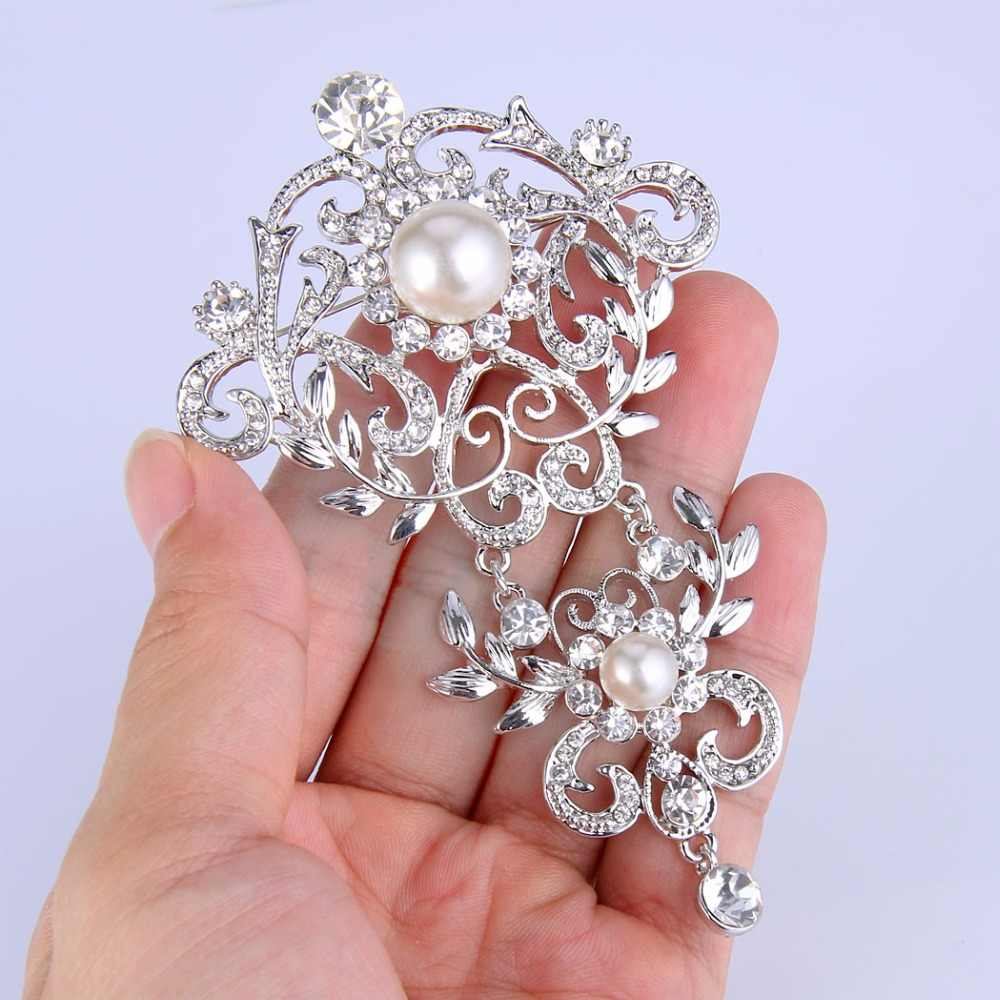 Tuliper Silver Tone Leaf Austrian Crystal Rhinestone Bridal Brooch Pins Simulated Ivory Pearl Brooches For Wedding Jewelry