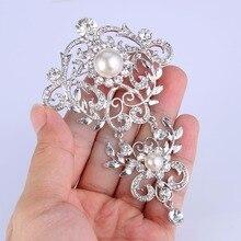 Tuliper Alfiler Novia Bridal Brooch For Women Broche Femme Bride Crystal брошь Rhinestone Pearl Pins Wedding Jewelry Gift
