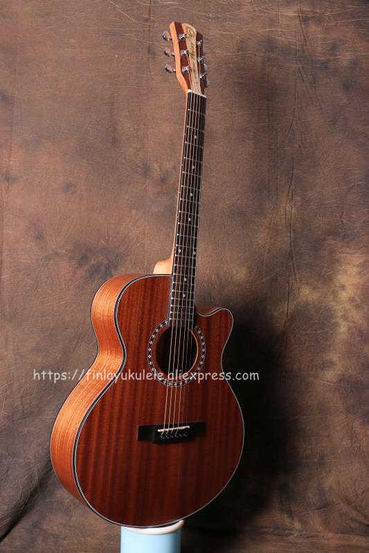 "(With video) Finlay 40""  Cutaway Acoustic Guitar With Full Mahogany Top/Body,China guitarra nature matt+hard case"