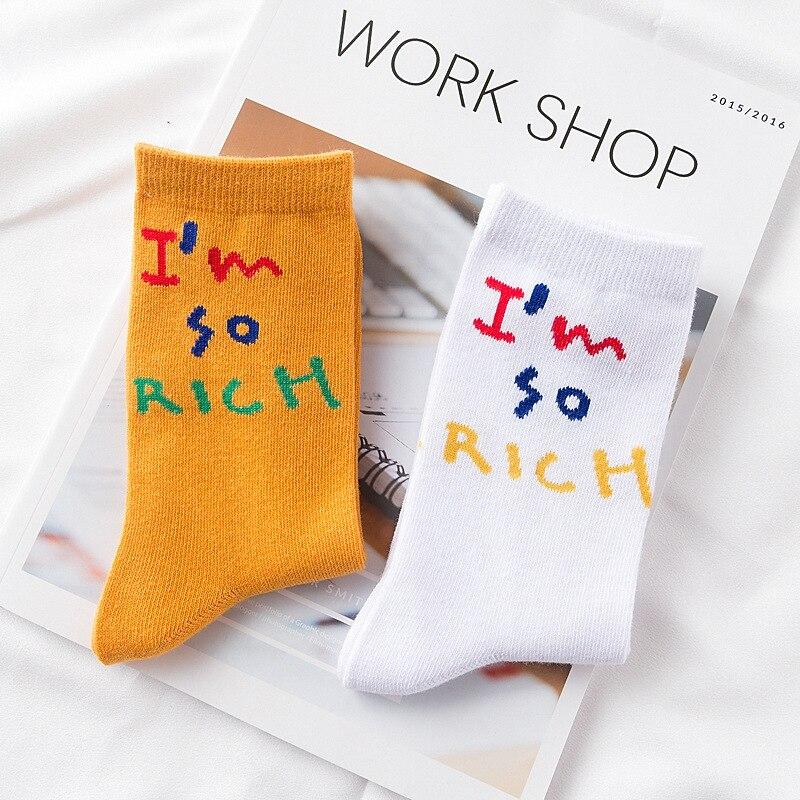 Autumn and winter new creative fun letters socks Harajuku wild simple tube socks orange socks cotton socks for men and women
