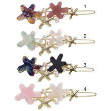 купить Japanese Acetic Acid Contrast Color Star Hair Clip Women Girls Glitter Faux Pearl Frog Bobby Pins Drop Oil Metallic Barrettes по цене 29.34 рублей