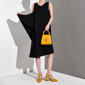 Image 3 - [EAM] 2020 New Spring Summer Round Neck Sleeveless Black Loose Split Joint Ruffles Temperament Dress Women Fashion Tide JG2220