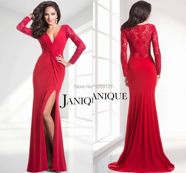 New Arrival Sheath Evening Dresses 2017 V Neck Long Sleeve Red Sexy