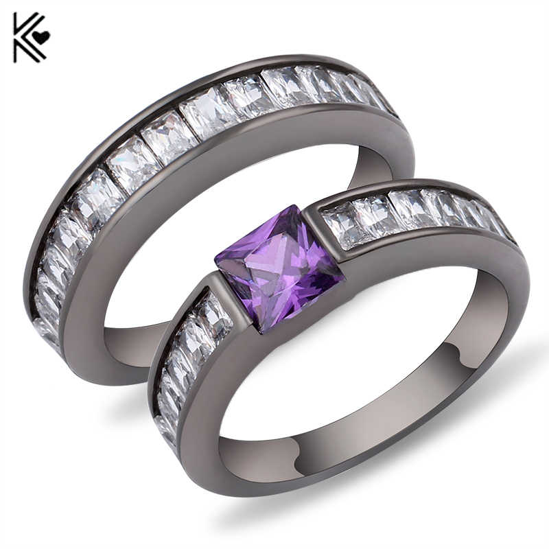 Geometric Purple Ring Sets Black Gold Filled Crystal Jewelry Vintage Wedding Rings For Women Bague Femme Gifts Valentine's Gifts
