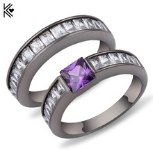 Geometric Purple Ring Sets Black Gold Filled Crystal Jewelry Vintage Wedding Rings For Women Bague Femme Gifts Valentine's Gifts(China)