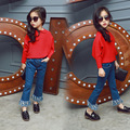 2017 New Spring Mummy And  Me Jeans Girls Lady Pants Toddler Jeans Kids Flares Tassel Trousers Bell bottomed Pants