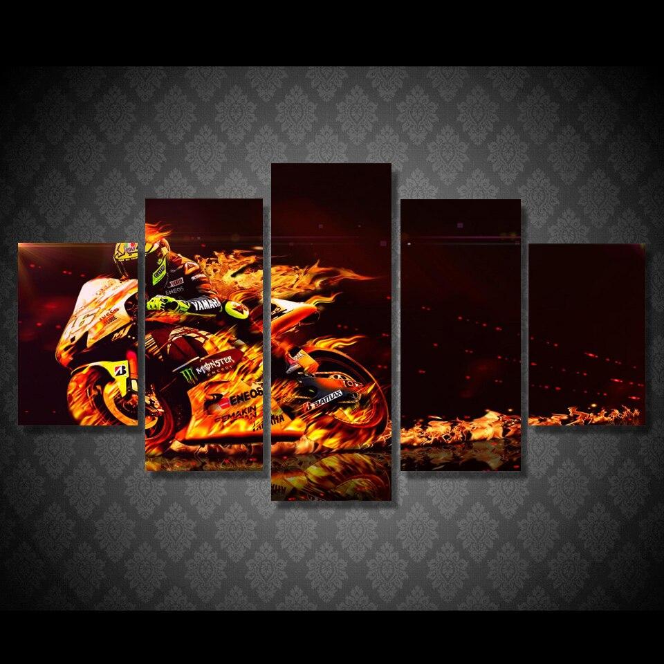 Acquisto di goccia 5 Pezzo della Tela di canapa Valentino Rossi Moto Poster HD Stampato Wall Art Home Decor Canvas Picture Pittura Su Misura