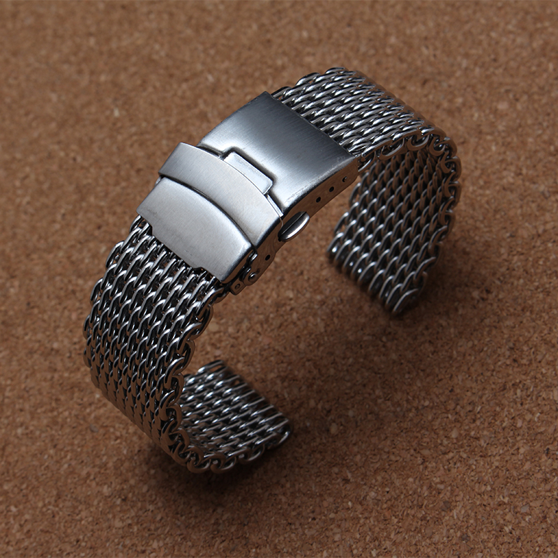 new 20mm 22mm 24mm Special mesh end Watchband Bracelet Silver Stainless Steel Straps with safety folding buckle for common hours watchband stainless steel metal watch bands curved end 18mm 20mm 22mm 24mm silver black for common men watches safety buckle new