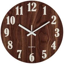 ABKM Hot 12 Inch Brown Night Light Function Wooden Wall Clock Vintage Rustic Country Tuscan Style For Kitchen Office Home Silent