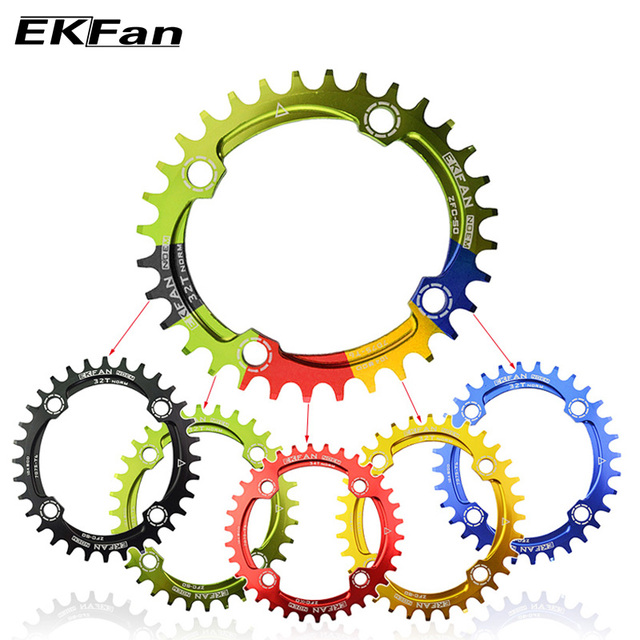 New EKFan Round Shape Narrow Wide 32T/34T/36T 104BCD MTB Chainring 7075-T6 Bicycle Chainwheel Bike Circle Crankset Single Plate