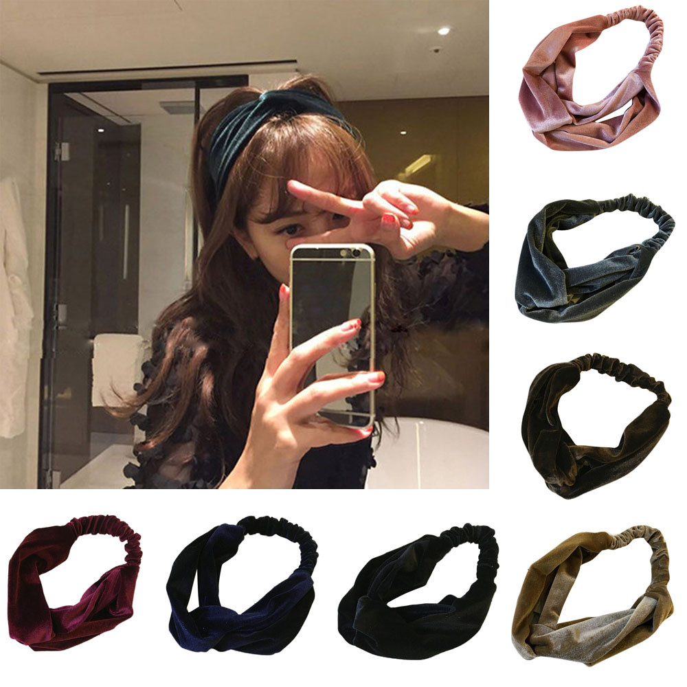 Fashion Headband Women Soft Velvet Cross Headband Hair Band Turban Elastic Headband For Women Hair Accessories Hairband Latest Fashion Apparel Accessories Girl's Hair Accessories