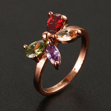 Emmaya Fashion Top Sale Colorful Rose Gold Color AAA Zircon Wedding bijoux Butterfly Tie Rings Jewelry For Women(China)