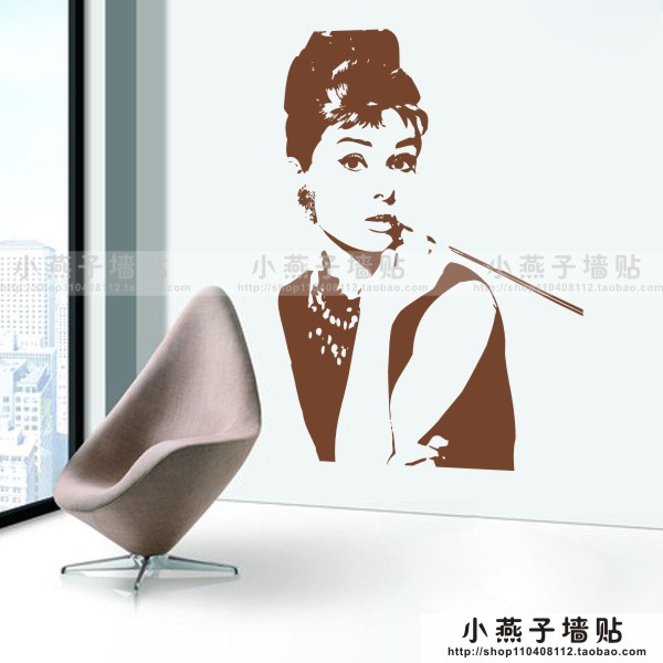9a8fde3a25 Audrey Hepburn adesivos de parede quarto romântico papel de parede TV na  sala de estar varanda corredor bar KTV loja de roupas