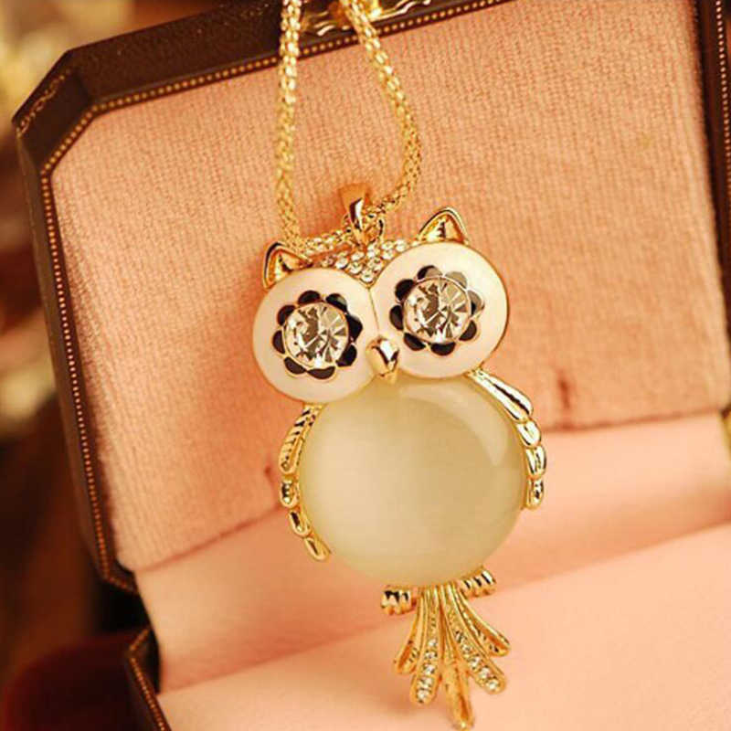 Austrian Crystals Owl Maxi Boho Long Chokers Necklaces Pendants Women Mother Girl Gifts Fashion Jewelry Accessories