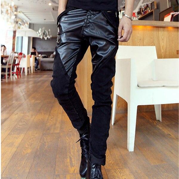Leather Jeans For Men Fight Pencil Menu0026#39;s PantsMenu0026#39;s Slim Fit  Harlan Pants JeansLeisure Pants ...