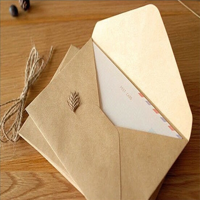 50PCS/lot NEW Vintage Simple Kraft Paper Envelope 16*11cm Diy Gift Envelopes For Wedding Red Envelope Supplies