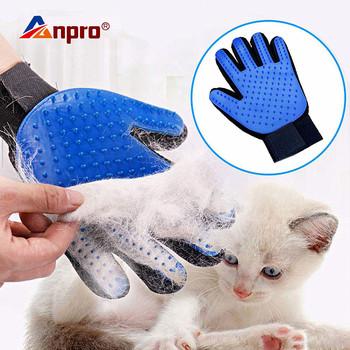 Pet Glove Cat rękawica do pielęgnacji włosy kota furminator rękawice grzebień dla psa dla kotów kąpiel czysty masaż depilator Brush tanie i dobre opinie Anpro Grzebienie Z tworzywa sztucznego cats 3 godzin Mesh + TPR