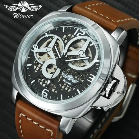 Vencedor da Moda Relógios de Pulso Royal Mecânico Automático Pulseira Couro Marca Superior Relógios Esqueleto Luxo 2020 Novo Relógio Masculino Men