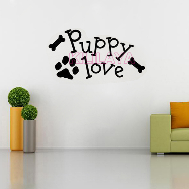 Puppy love paw vinyl wall art decal wall stickers mural wallpaper for living room kids room