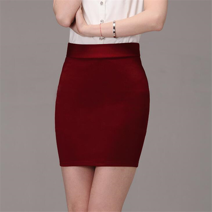 CUHAKCI Summer Short Skirts Mini Skirt Women Sexy Skirt Casual Elegant Work Office Lady Black Rose Candy Color New Solid A-line