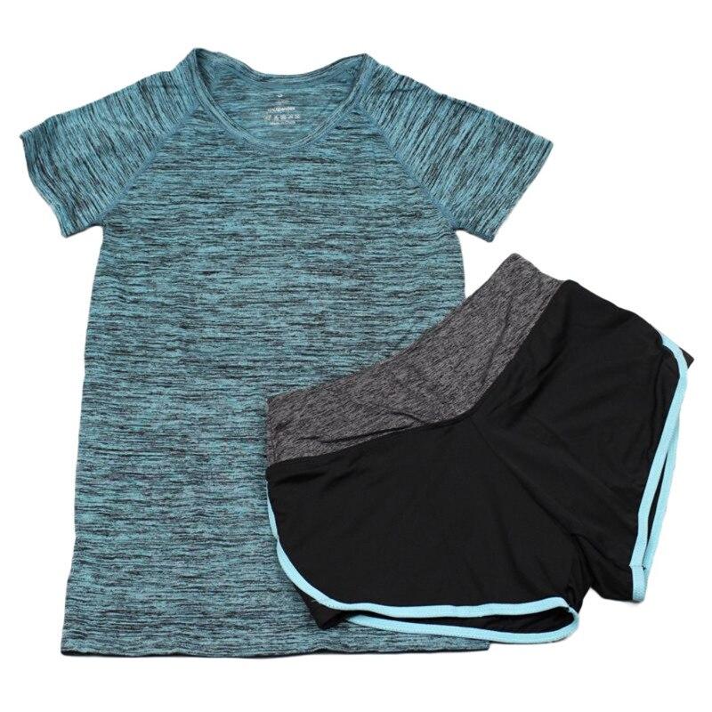 Women Yoga 2 Pcs Sets Sports Running Set Fitness Gym Push Up Seamless Bras Tops Elastic Short Pants for Women+Sport Shirt