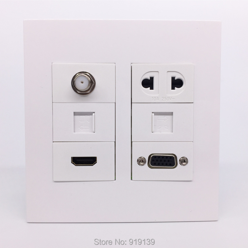 white color 120x120 mm multimedia tv rj11 hdmi electric vga computer rj45 network wall socket. Black Bedroom Furniture Sets. Home Design Ideas