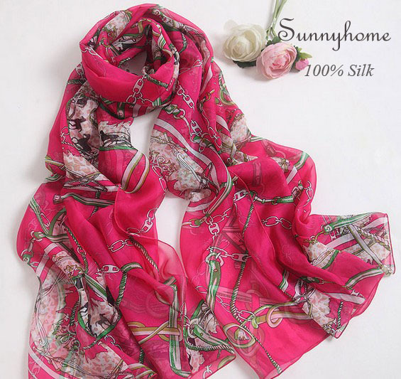Dames foulards 2015 pur Rose rouge soie designer marque de haute qualité  foulards grand bijoux de mode imprimé musulman hijab châles 7366190a2b9