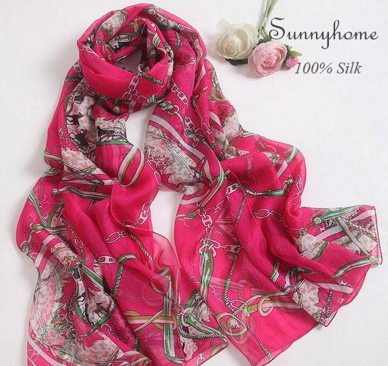 Lenços das senhoras 2015 designer de marca de alta qualidade lenços de seda pura Rosa vermelho grande jóia moda impresso xales hijab muçulmano