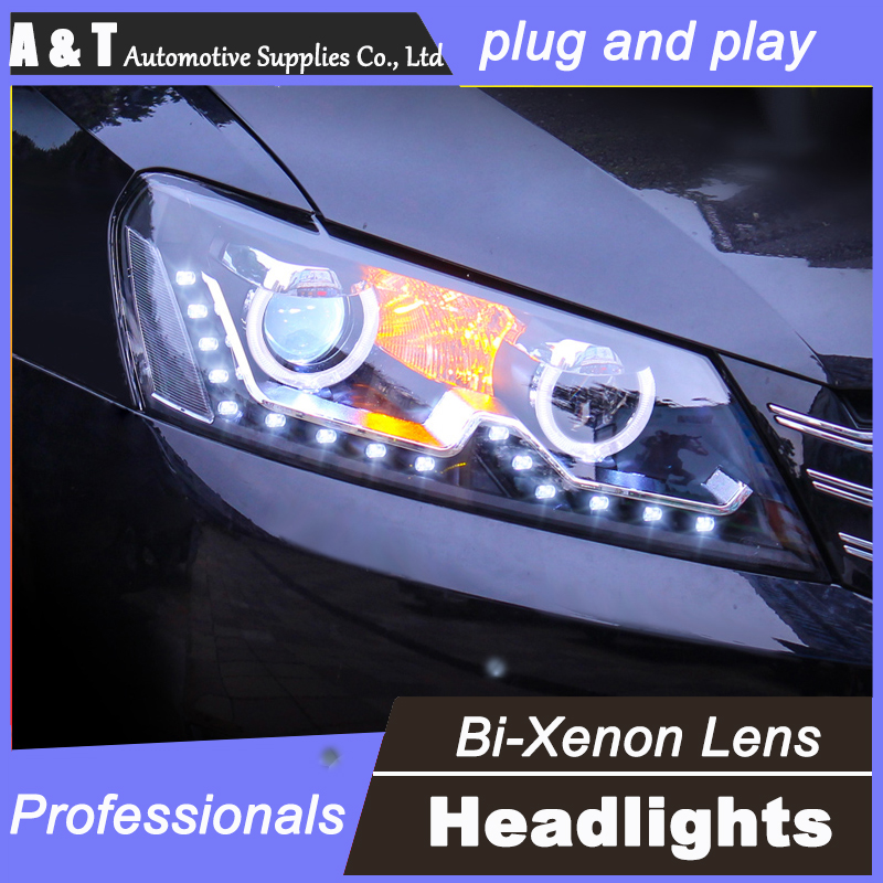 For VW Passat headlights assembly angel eyes 2011-2015 For Passat xenon lens h7 with hid kit car styling 2pcs.