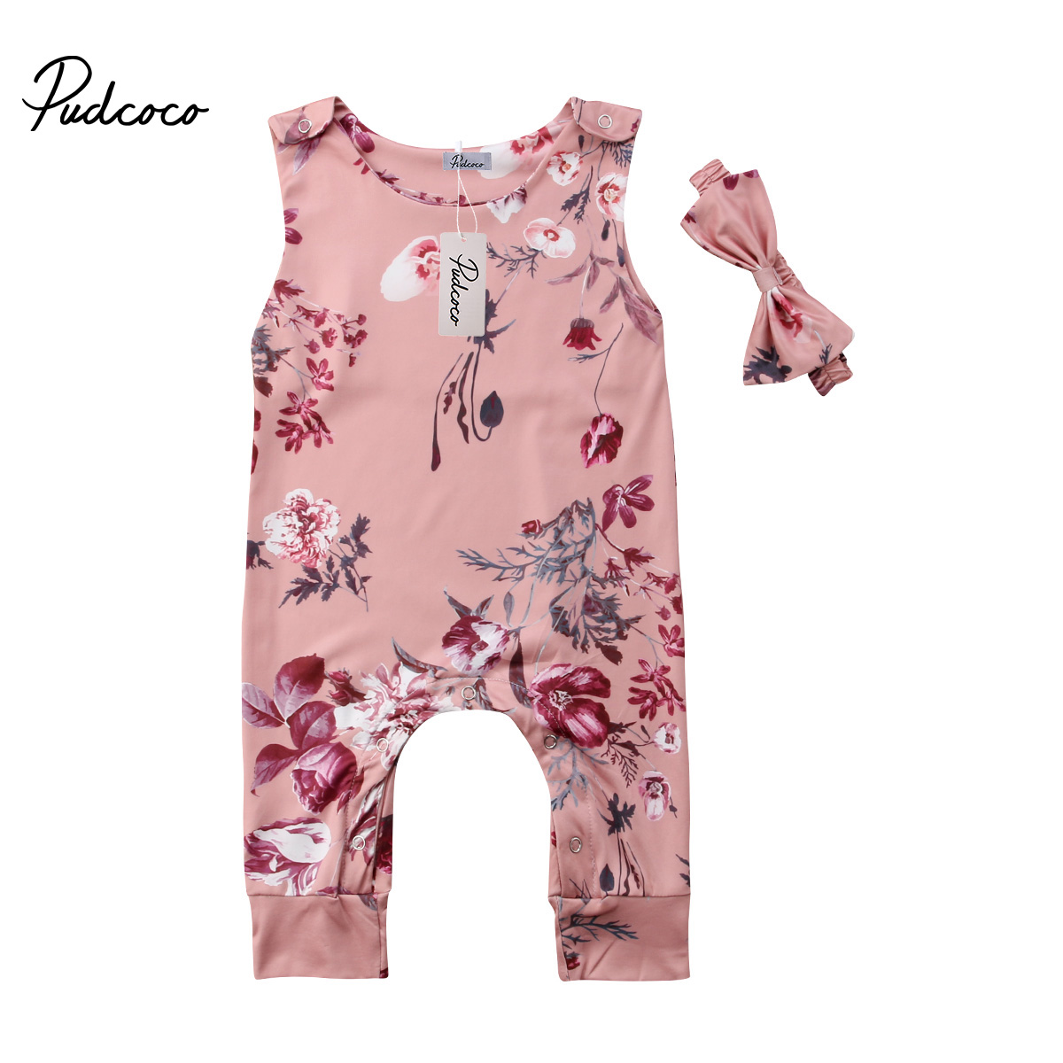 Baby Girl Sleeveless Romper Round Neck Button Shoulder Flowers Jumpsuit+ Bow Tie Headband 2PCS Outfits Sets
