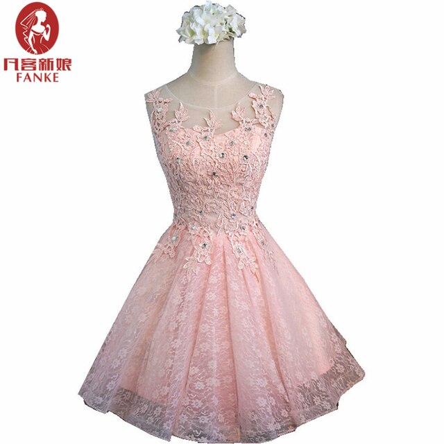 Vestidos de Cóctel de color rosa 2017 Una Línea de Espalda Abierta ...