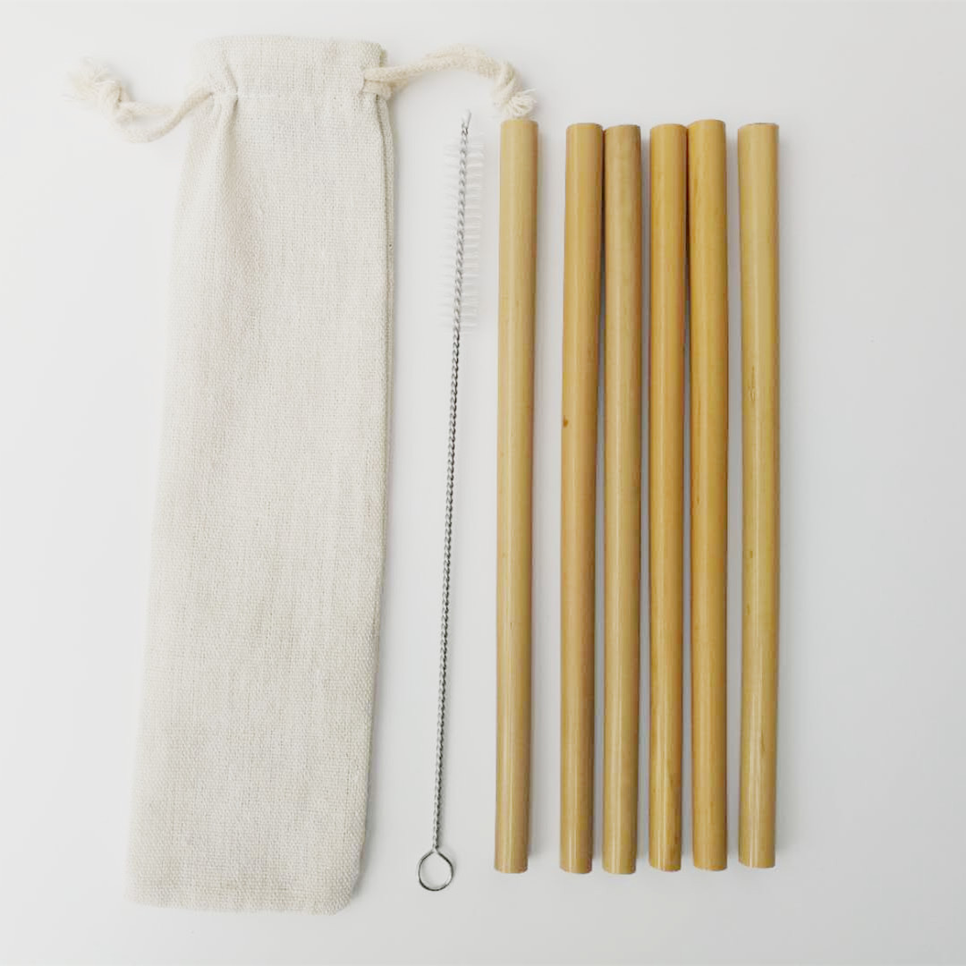 6Pcs Yellow Bamboo Straws Eco Friendly Bamboo Straw with Drinking Straws Cleaning Brush and Close Bag Household Drinking Straw in Drinking Straws from Home Garden
