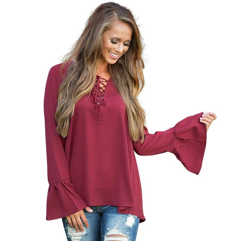 Otoño Mujeres Blusa Camisa de Cuello V Suelta Top de Las Señoras Del Vendaje de
