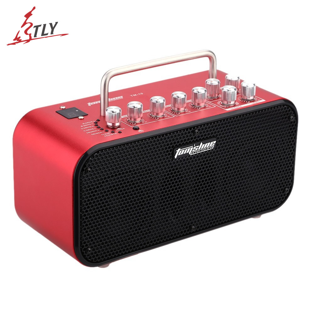 Aroma TM-10 10W Mini Stereo Digital Amp Electric Guitar Amplifier Speaker Build-in Tuner & 8 Preset Sound 4 Effect Modes free shipping joyo ja 03 metal sound mini guitar amp pocket amplifier micro headphone speaker instruments guitarra 3w amp