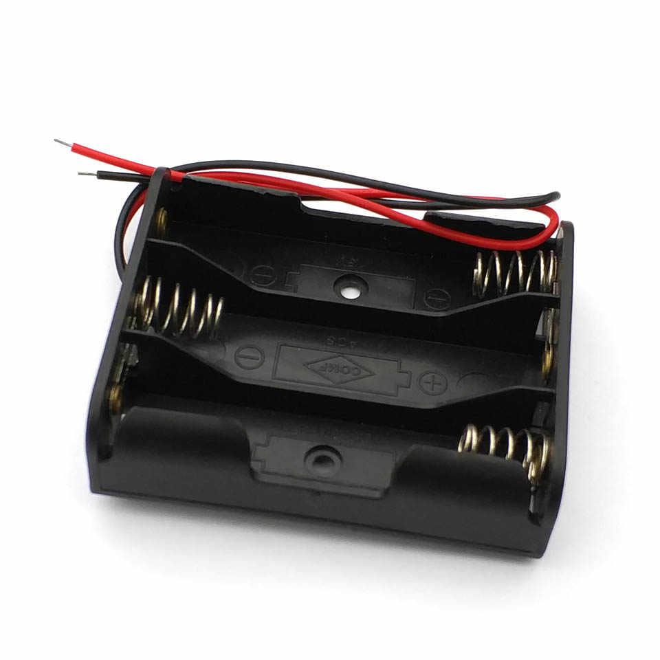 Hot New Box Holder Per 3 x AA Nero Con Cavi di Legare In Plastica della Batteria di Caso di Immagazzinaggio Nuovo