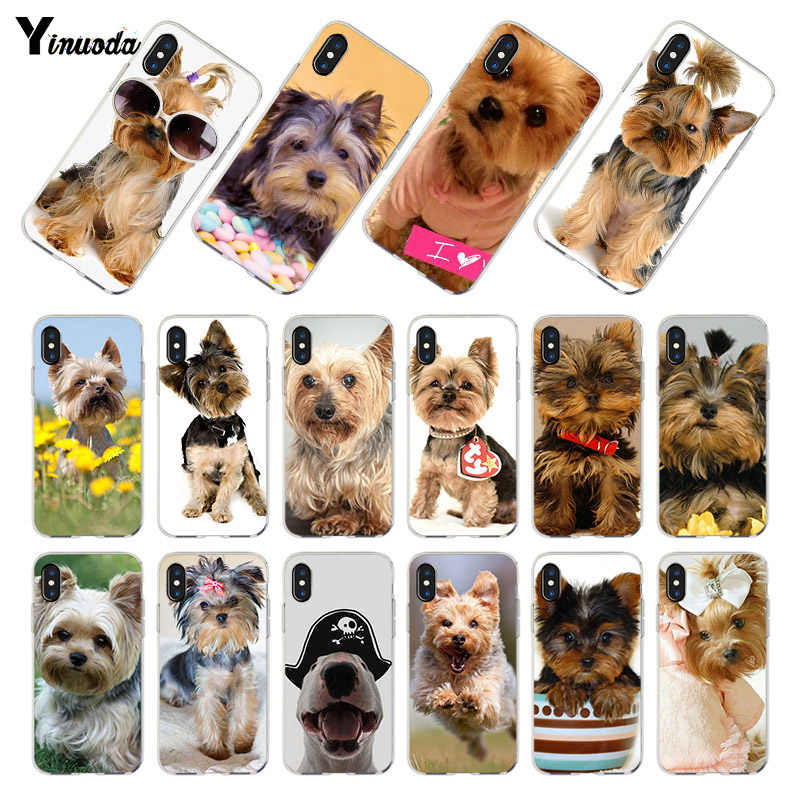 Yinuoda yorkshire terrier hond puppy Transparant Cover Case voor iPhone X 8 7 6 6 s Plus XS XR XSMAX 4 s